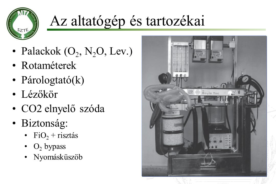 Az altatógép és tartozékai Palackok (O 2, N 2 O, Lev.) Rotaméterek Párologtató(k) Lézőkör CO2 elnyelő szóda Biztonság: FiO 2 + risztás O 2 bypass Nyom
