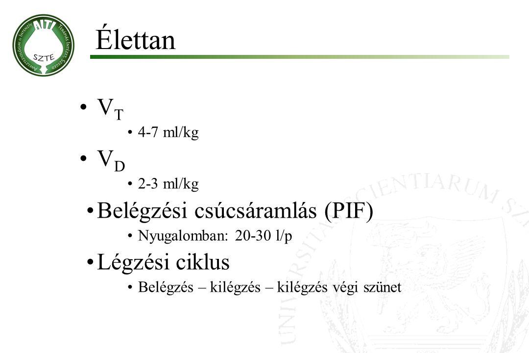V T 4-7 ml/kg V D 2-3 ml/kg Belégzési csúcsáramlás (PIF) Nyugalomban: 20-30 l/p Légzési ciklus Belégzés – kilégzés – kilégzés végi szünet Élettan