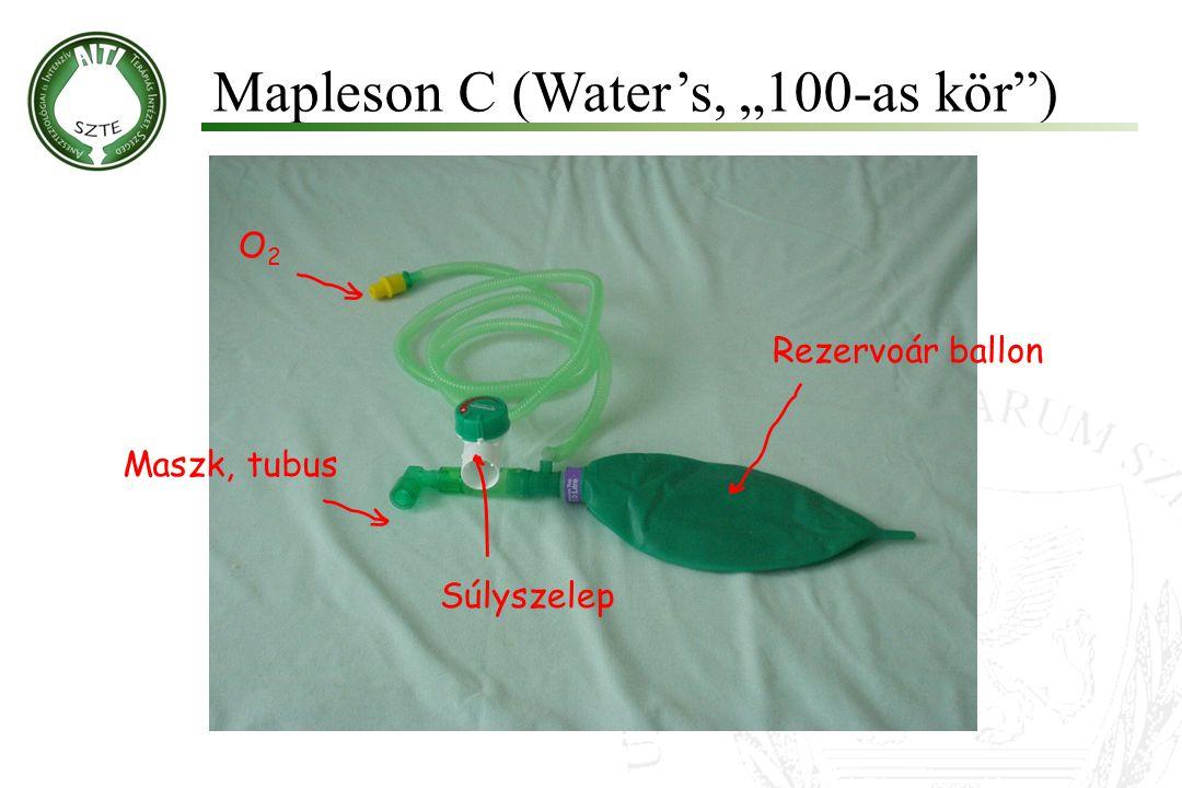 """Mapleson C (Water's, """"100-as kör"""") Molnár '99 Maszk, tubus O2O2 Súlyszelep Rezervoár ballon"""