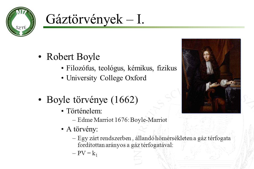 Robert Boyle Filozófus, teológus, kémikus, fizikus University College Oxford Boyle törvénye (1662) Történelem: –Edme Marriot 1676: Boyle-Marriot A tör