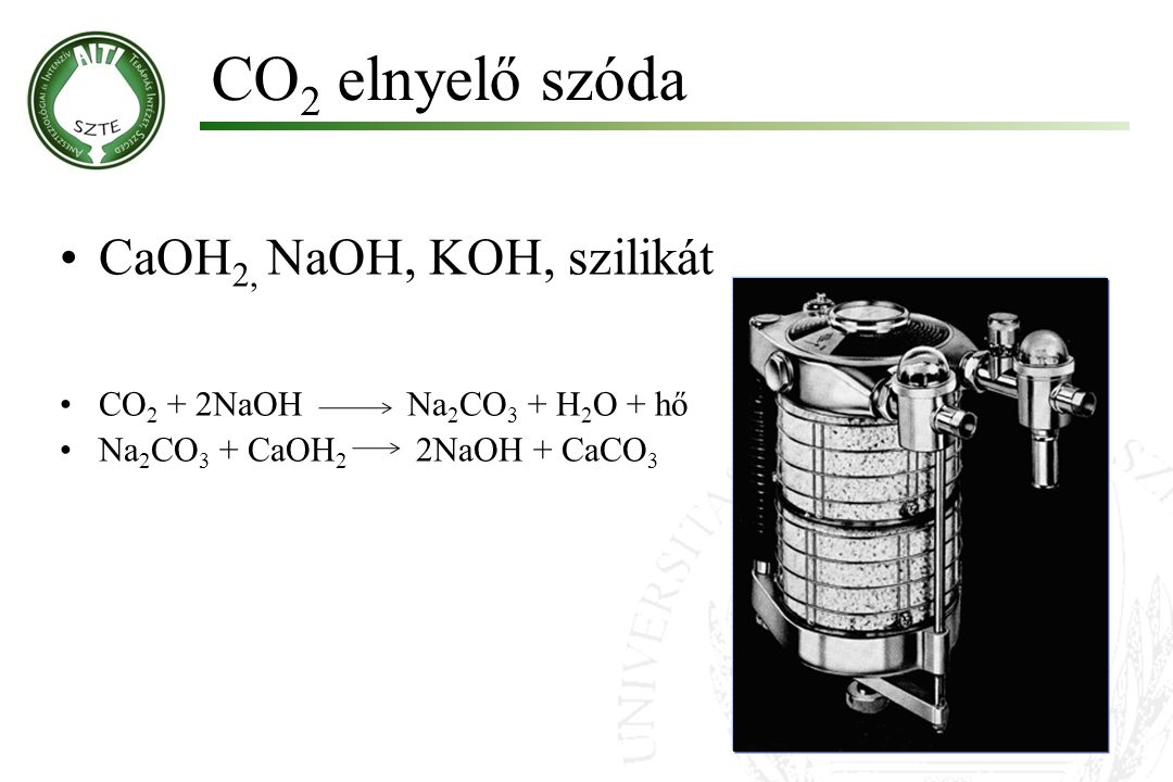 CO 2 elnyelő szóda CaOH 2, NaOH, KOH, szilikát CO 2 + 2NaOH Na 2 CO 3 + H 2 O + hő Na 2 CO 3 + CaOH 2 2NaOH + CaCO 3