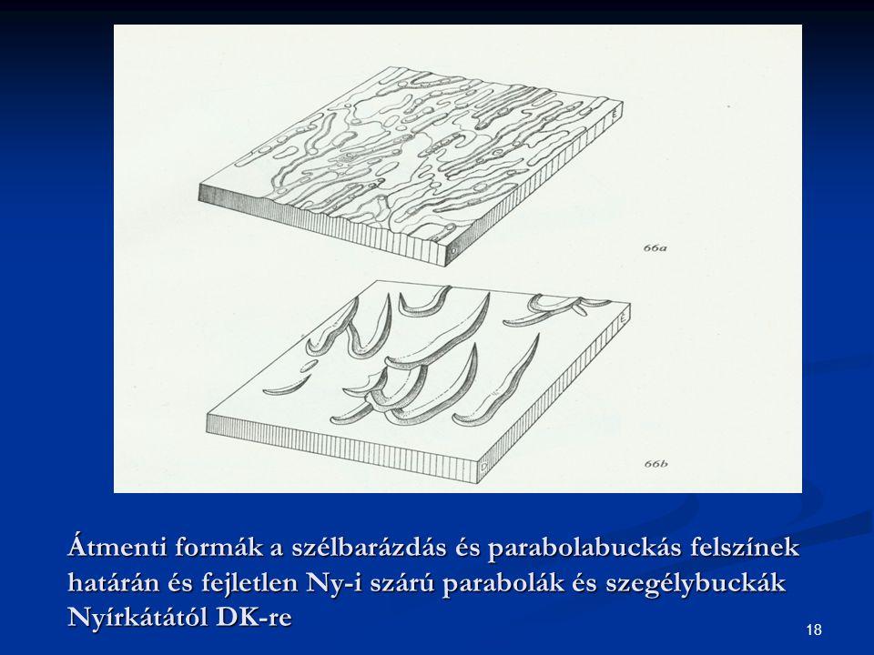 18 Átmenti formák a szélbarázdás és parabolabuckás felszínek határán és fejletlen Ny-i szárú parabolák és szegélybuckák Nyírkátától DK-re