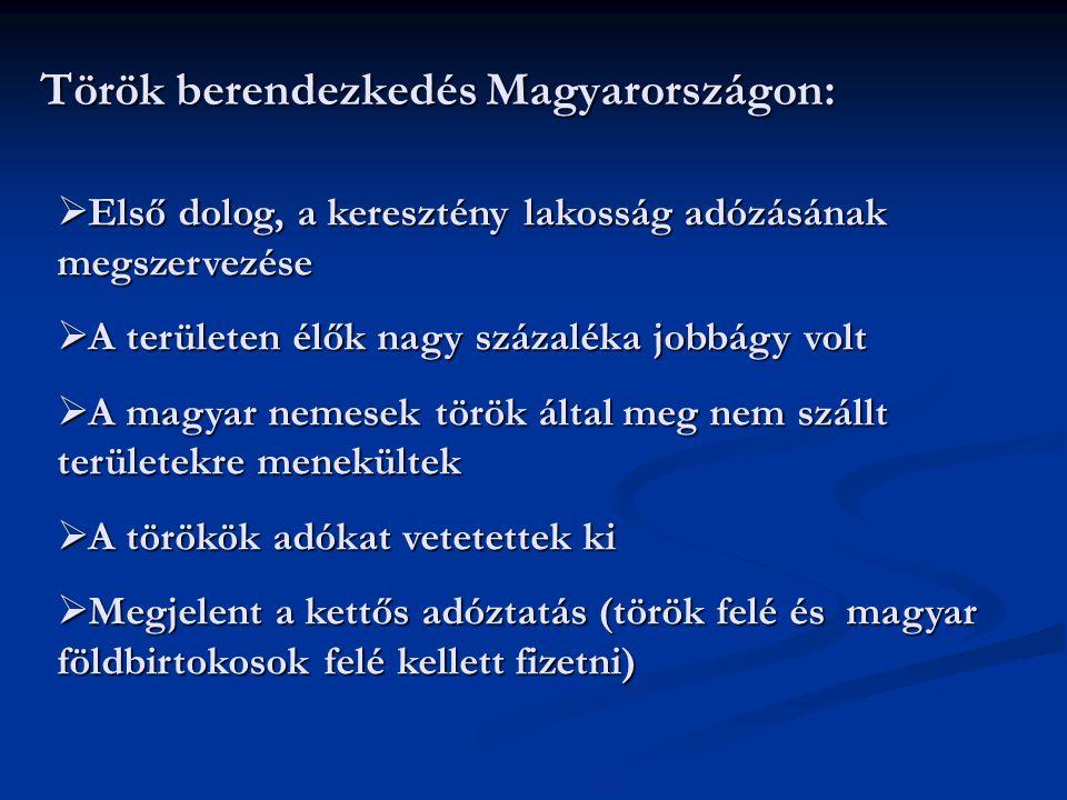 Török berendezkedés Magyarországon:  E E E Első dolog, a keresztény lakosság adózásának megszervezése  A A A A területen élők nagy százaléka j