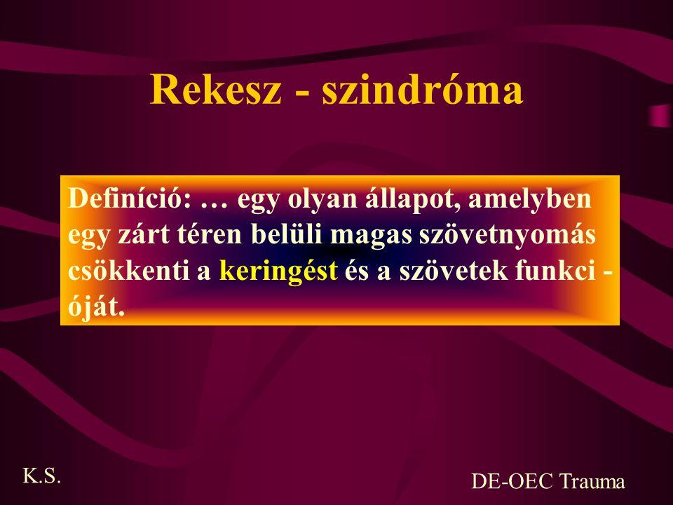 Rekesz - szindróma Definíció: … egy olyan állapot, amelyben egy zárt téren belüli magas szövetnyomás csökkenti a keringést és a szövetek funkci - óját