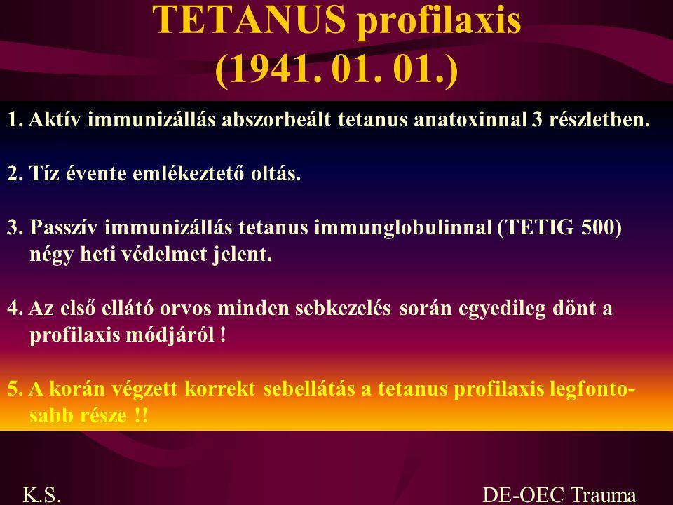 TETANUS profilaxis (1941. 01. 01.) 1. Aktív immunizállás abszorbeált tetanus anatoxinnal 3 részletben. 2. Tíz évente emlékeztető oltás. 3. Passzív imm