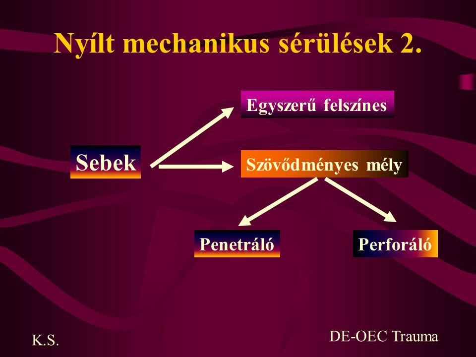 Nyílt mechanikus sérülések 2. Sebek Egyszerű felszínes Szövődményes mély PenetrálóPerforáló K.S. DE-OEC Trauma