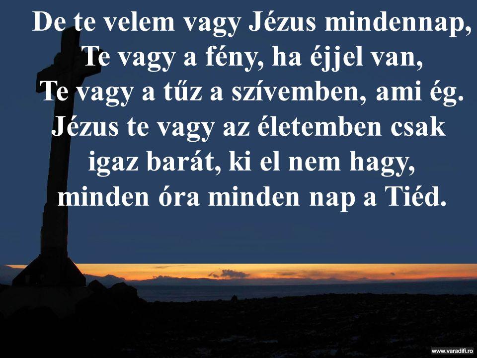 De te velem vagy Jézus mindennap, Te vagy a fény, ha éjjel van, Te vagy a tűz a szívemben, ami ég. Jézus te vagy az életemben csak igaz barát, ki el n