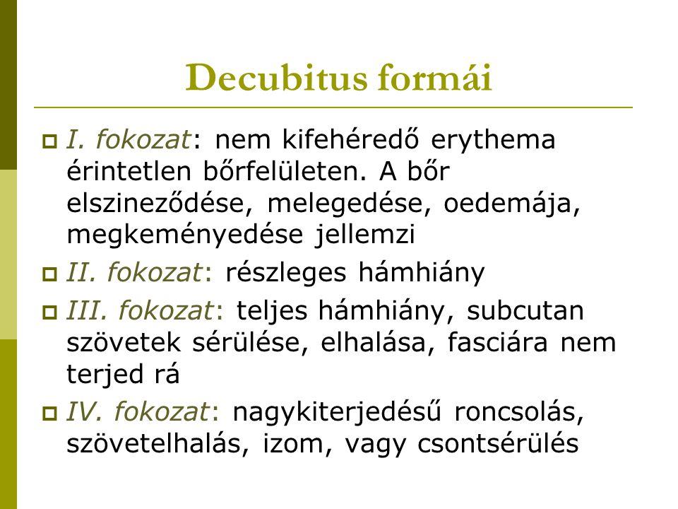 Decubitus formái  I. fokozat: nem kifehéredő erythema érintetlen bőrfelületen. A bőr elszineződése, melegedése, oedemája, megkeményedése jellemzi  I