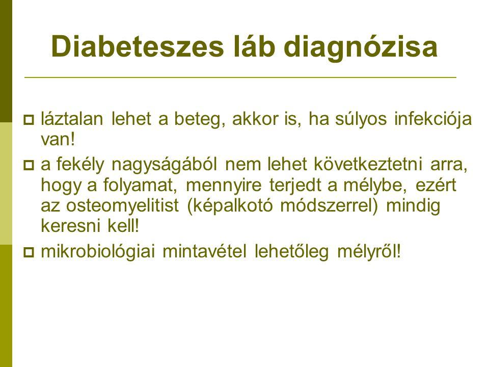 Diabeteszes láb diagnózisa  láztalan lehet a beteg, akkor is, ha súlyos infekciója van!  a fekély nagyságából nem lehet következtetni arra, hogy a f