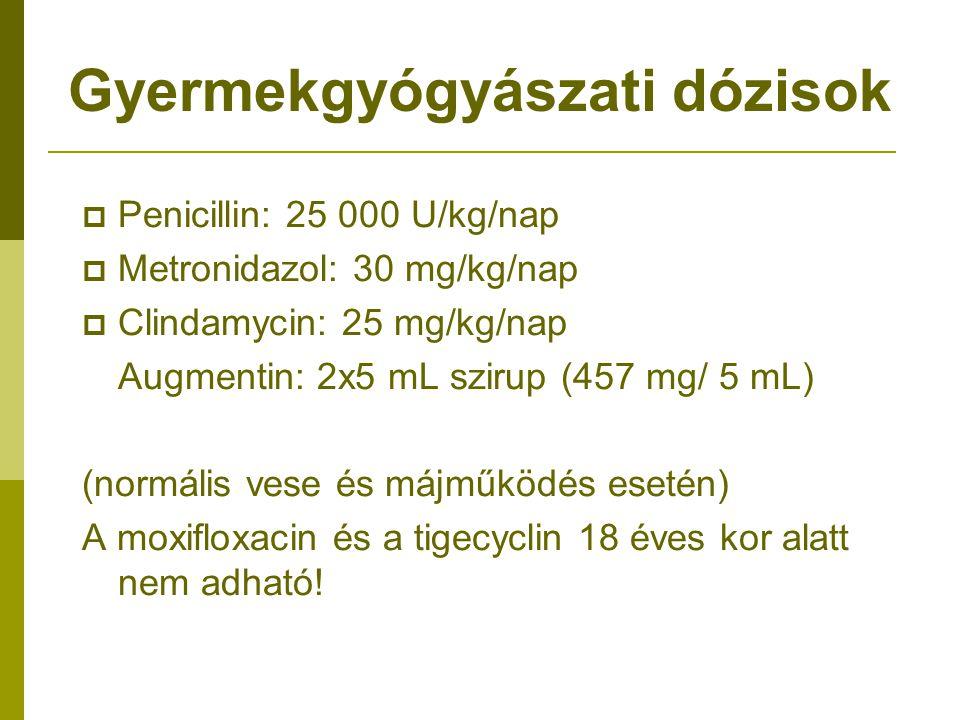 Gyermekgyógyászati dózisok  Penicillin: 25 000 U/kg/nap  Metronidazol: 30 mg/kg/nap  Clindamycin: 25 mg/kg/nap Augmentin: 2x5 mL szirup (457 mg/ 5 mL) (normális vese és májműködés esetén) A moxifloxacin és a tigecyclin 18 éves kor alatt nem adható!