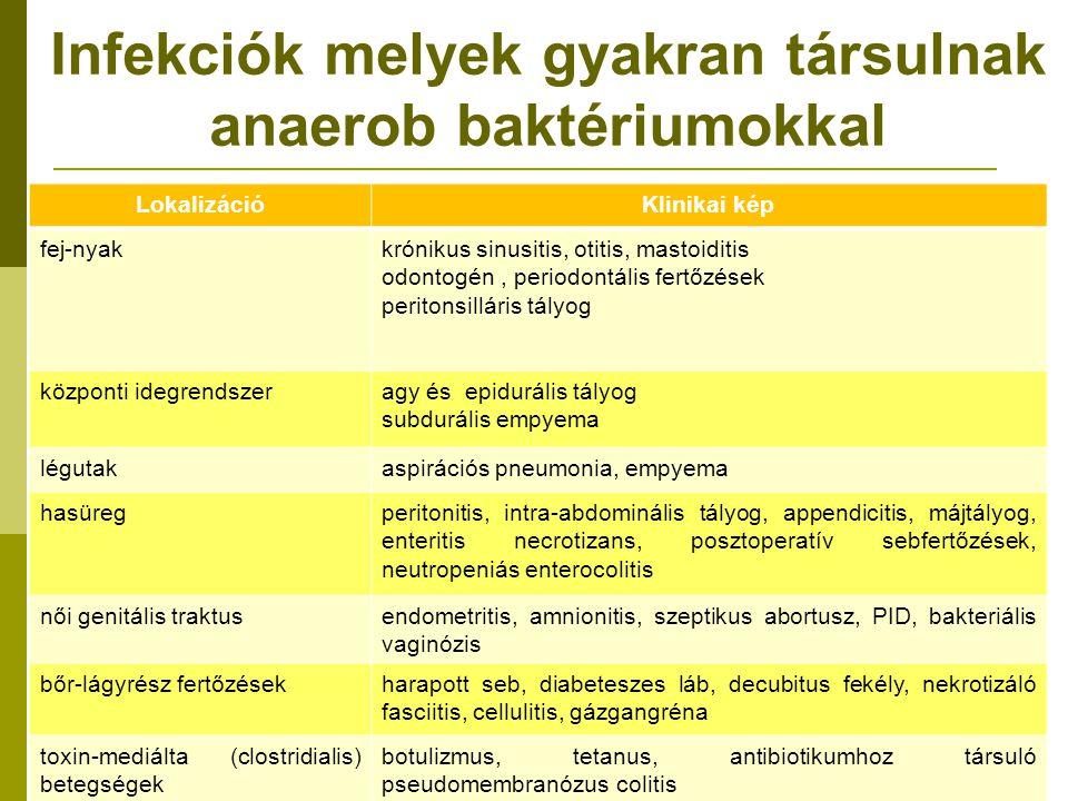 Infekciók melyek gyakran társulnak anaerob baktériumokkal LokalizációKlinikai kép fej-nyakkrónikus sinusitis, otitis, mastoiditis odontogén, periodontális fertőzések peritonsilláris tályog központi idegrendszeragy és epidurális tályog subdurális empyema légutakaspirációs pneumonia, empyema hasüregperitonitis, intra-abdominális tályog, appendicitis, májtályog, enteritis necrotizans, posztoperatív sebfertőzések, neutropeniás enterocolitis női genitális traktusendometritis, amnionitis, szeptikus abortusz, PID, bakteriális vaginózis bőr-lágyrész fertőzésekharapott seb, diabeteszes láb, decubitus fekély, nekrotizáló fasciitis, cellulitis, gázgangréna toxin-mediálta (clostridialis) betegségek botulizmus, tetanus, antibiotikumhoz társuló pseudomembranózus colitis