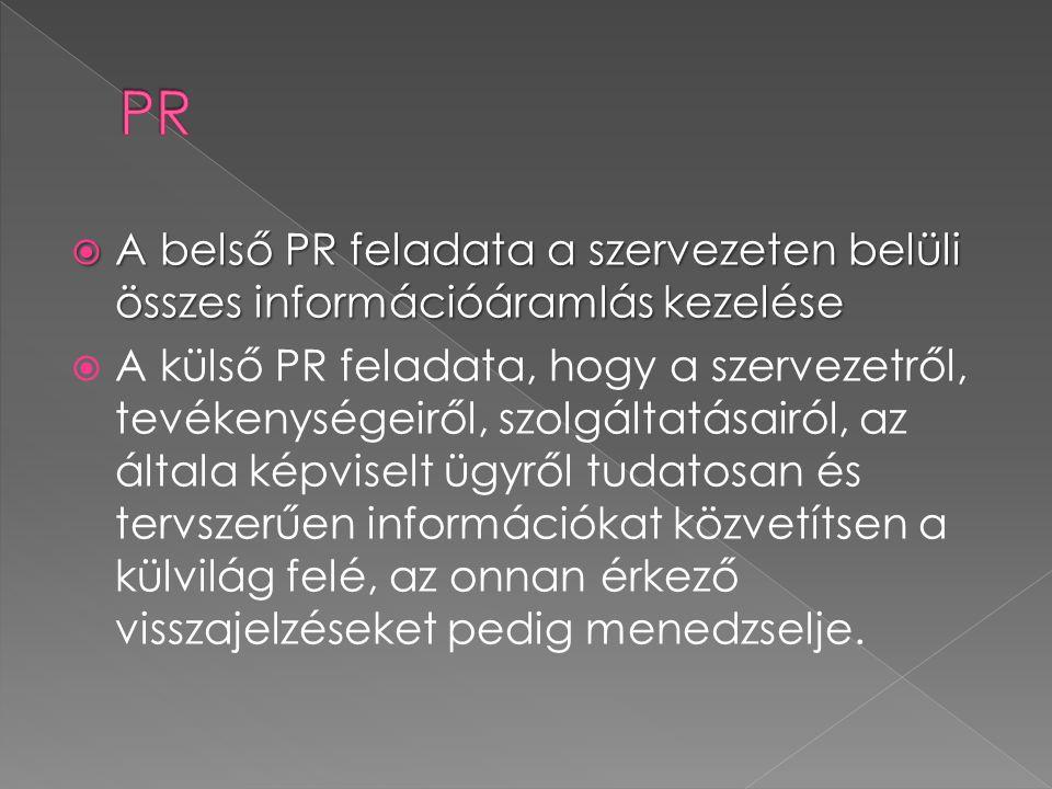  A belső PR feladata a szervezeten belüli összes információáramlás kezelése  A külső PR feladata, hogy a szervezetről, tevékenységeiről, szolgáltatásairól, az általa képviselt ügyről tudatosan és tervszerűen információkat közvetítsen a külvilág felé, az onnan érkező visszajelzéseket pedig menedzselje.