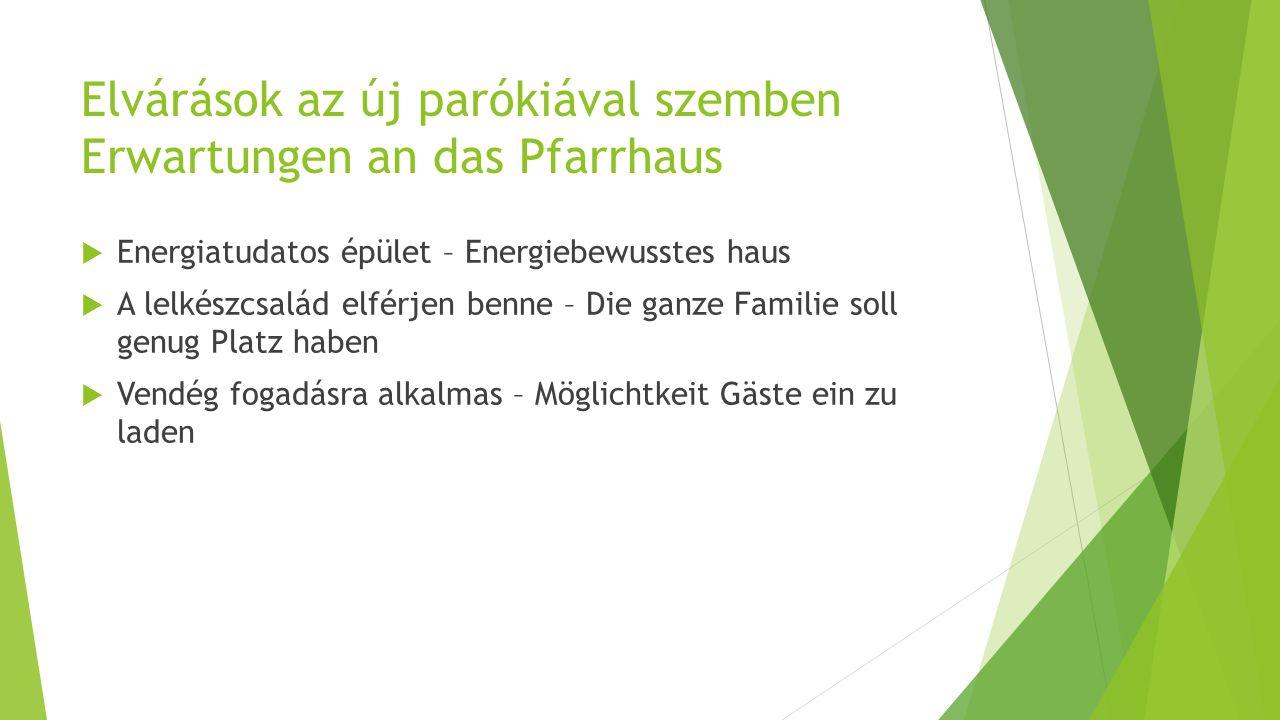 Elvárások az új parókiával szemben Erwartungen an das Pfarrhaus  Energiatudatos épület – Energiebewusstes haus  A lelkészcsalád elférjen benne – Die