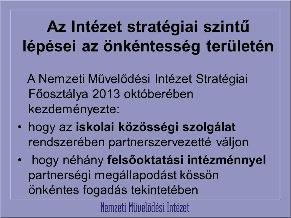 Az Intézet stratégiai szintű lépései az önkéntesség területén A Nemzeti Művelődési Intézet Stratégiai Főosztálya 2013 októberében kezdeményezte: hogy