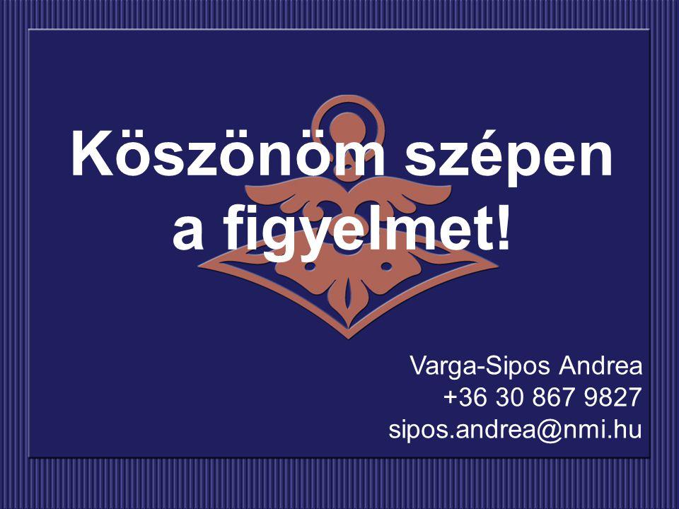 Köszönöm szépen a figyelmet! Varga-Sipos Andrea +36 30 867 9827 sipos.andrea@nmi.hu