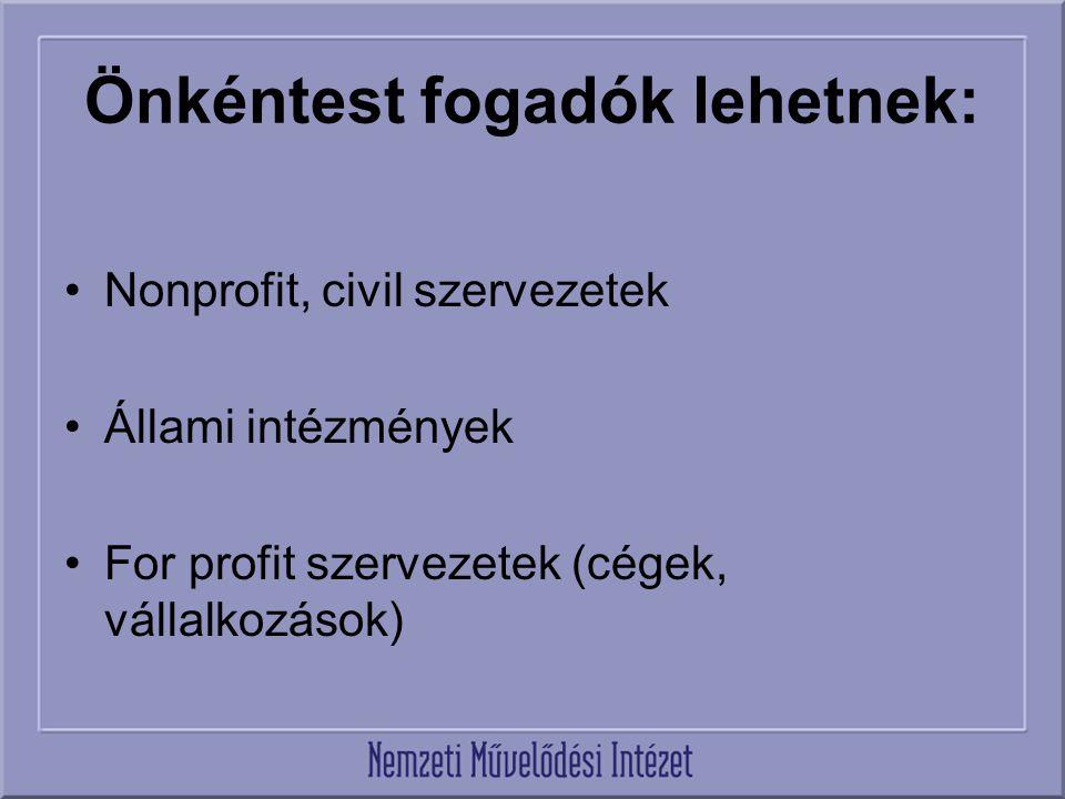 Önkéntest fogadók lehetnek: Nonprofit, civil szervezetek Állami intézmények For profit szervezetek (cégek, vállalkozások)