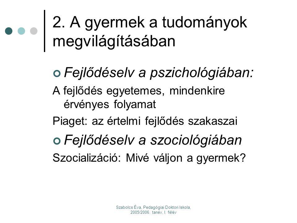 Szabolcs Éva, Pedagógiai Doktori Iskola, 2005/2006. tanév, I. félév 3. A gyermekkor halála