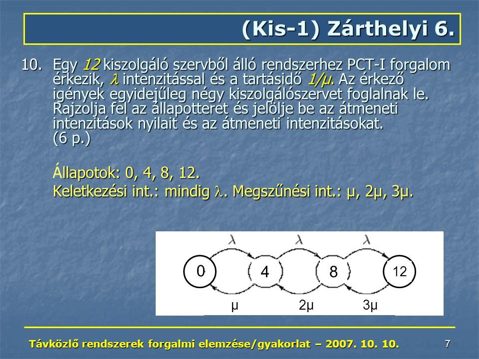 Távközlő rendszerek forgalmi elemzése/gyakorlat – 2007. 10. 10. 7 10.Egy 12 kiszolgáló szervből álló rendszerhez PCT-I forgalom érkezik, intenzitással