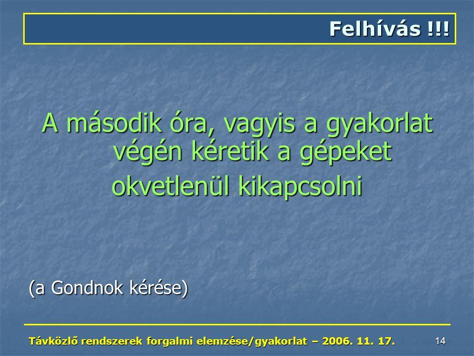 Távközlő rendszerek forgalmi elemzése/gyakorlat – 2006. 11. 17. 14 A második óra, vagyis a gyakorlat végén kéretik a gépeket okvetlenül kikapcsolni (a