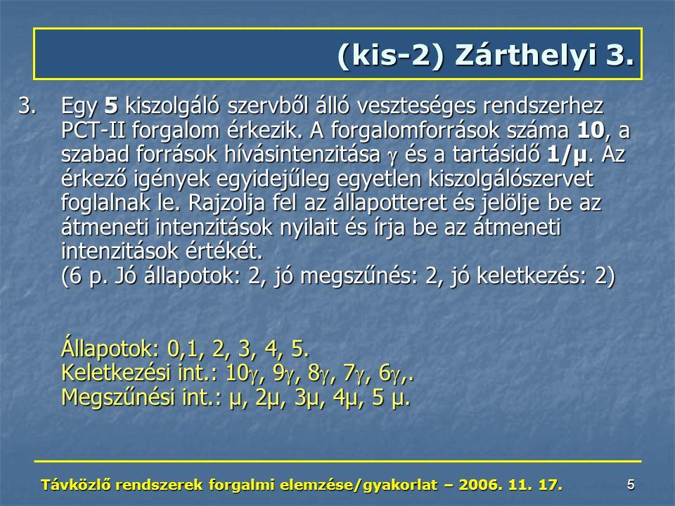 Távközlő rendszerek forgalmi elemzése/gyakorlat – 2006. 11. 17. 5 3.Egy 5 kiszolgáló szervből álló veszteséges rendszerhez PCT-II forgalom érkezik. A