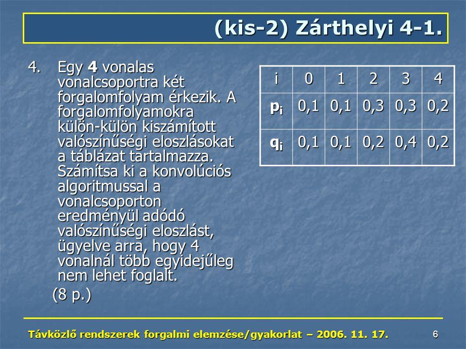 Távközlő rendszerek forgalmi elemzése/gyakorlat – 2006. 11. 17. 6 (kis-2) Zárthelyi 4-1. 4.Egy 4 vonalas vonalcsoportra két forgalomfolyam érkezik. A