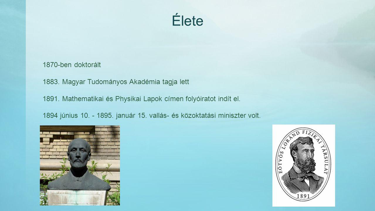 Élete 1870-ben doktorált 1883. Magyar Tudományos Akadémia tagja lett 1891. Mathematikai és Physikai Lapok címen folyóiratot indít el. 1894 június 10.