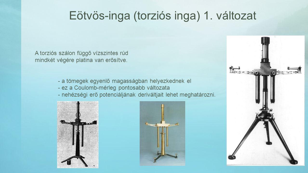 Eötvös-inga (torziós inga) 1. változat A torziós szálon függő vízszintes rúd mindkét végére platina van erősítve. - a tömegek egyenlő magasságban hely
