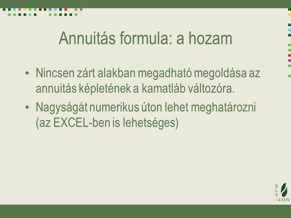 Annuitás formula: a hozam Nincsen zárt alakban megadható megoldása az annuitás képletének a kamatláb változóra. Nagyságát numerikus úton lehet meghatá