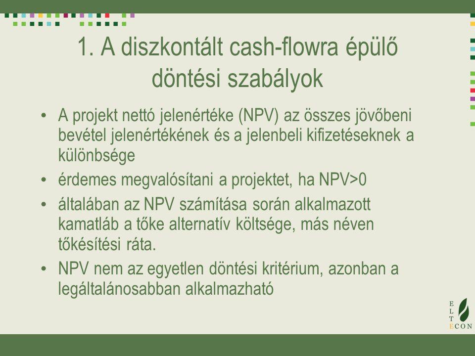 1. A diszkontált cash-flowra épülő döntési szabályok A projekt nettó jelenértéke (NPV) az összes jövőbeni bevétel jelenértékének és a jelenbeli kifize