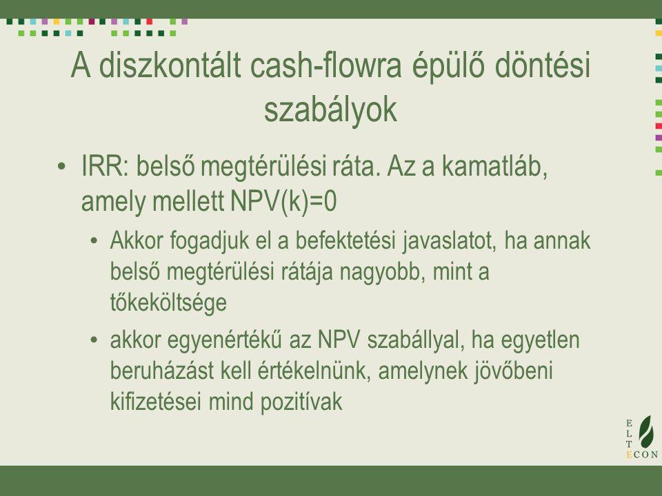 A diszkontált cash-flowra épülő döntési szabályok IRR: belső megtérülési ráta. Az a kamatláb, amely mellett NPV(k)=0 Akkor fogadjuk el a befektetési j