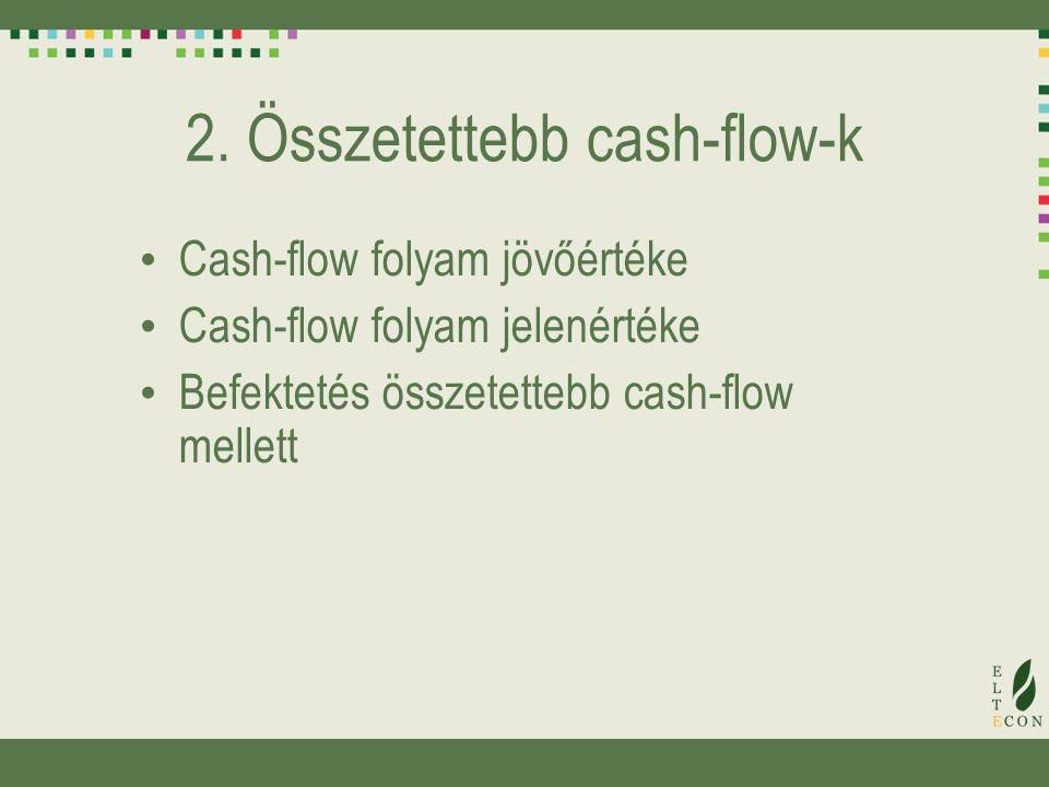 2. Összetettebb cash-flow-k Cash-flow folyam jövőértéke Cash-flow folyam jelenértéke Befektetés összetettebb cash-flow mellett