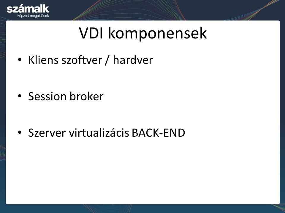 VDI komponensek Kliens szoftver / hardver Session broker Szerver virtualizácis BACK-END