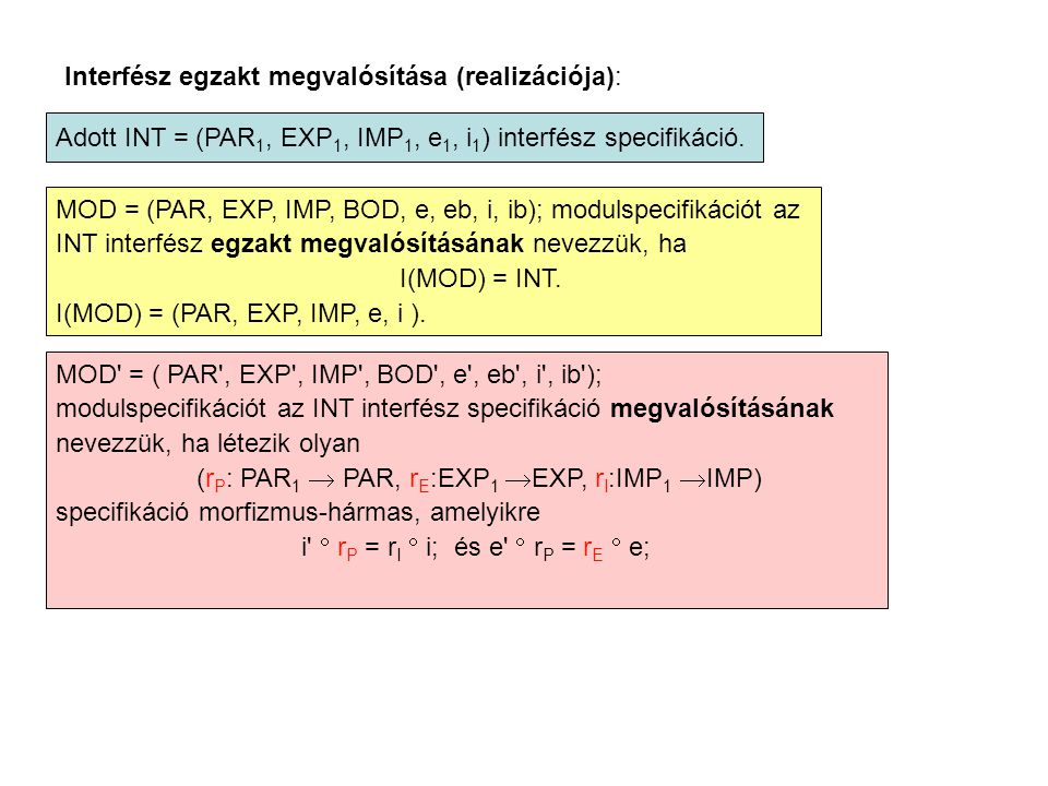 Interfész egzakt megvalósítása (realizációja): Adott INT = (PAR 1, EXP 1, IMP 1, e 1, i 1 ) interfész specifikáció. MOD = (PAR, EXP, IMP, BOD, e, eb,