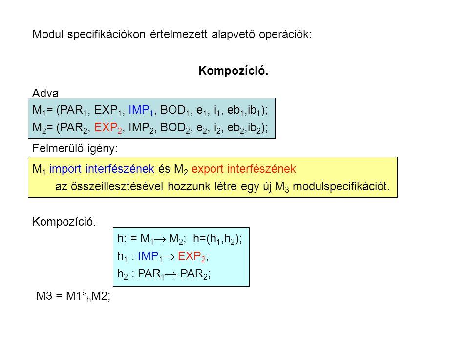 Modul specifikációkon értelmezett alapvető operációk: Kompozíció. Adva M 1 = (PAR 1, EXP 1, IMP 1, BOD 1, e 1, i 1, eb 1,ib 1 ); M 2 = (PAR 2, EXP 2,