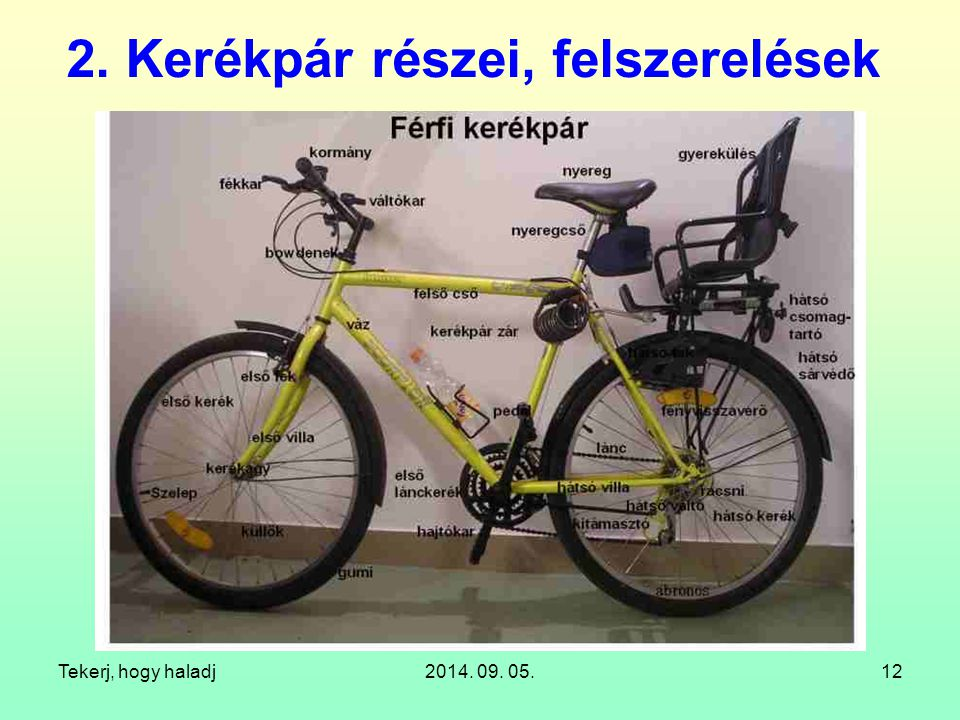 Tekerj, hogy haladj2014. 09. 05.12 2. Kerékpár részei, felszerelések