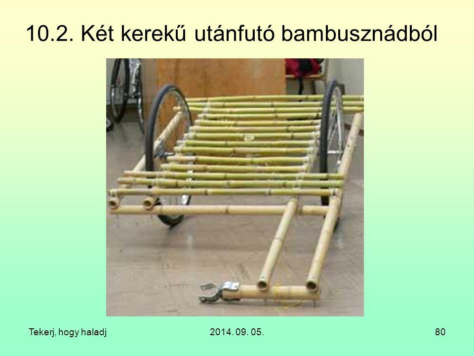 Tekerj, hogy haladj2014. 09. 05.80 10.2. Két kerekű utánfutó bambusznádból