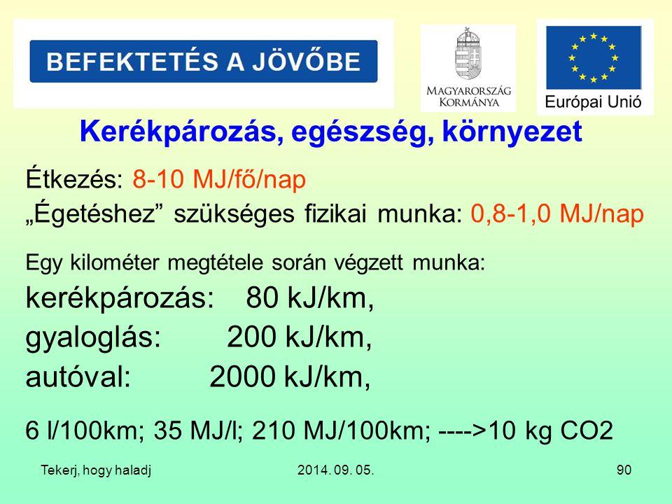 """Tekerj, hogy haladj2014. 09. 05.90 Kerékpározás, egészség, környezet Étkezés: 8-10 MJ/fő/nap """"Égetéshez"""" szükséges fizikai munka: 0,8-1,0 MJ/nap Egy k"""
