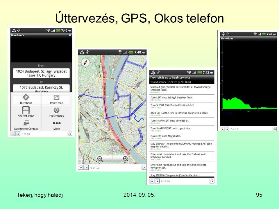 Úttervezés, GPS, Okos telefon Tekerj, hogy haladj2014. 09. 05.95