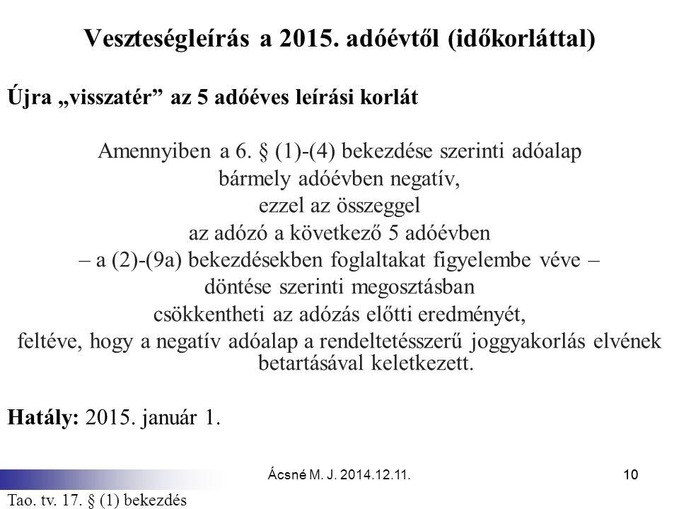 """Ácsné M. J. 2014.12.11.10 Veszteségleírás a 2015. adóévtől (időkorláttal) Újra """"visszatér"""" az 5 adóéves leírási korlát Amennyiben a 6. § (1)-(4) bekez"""