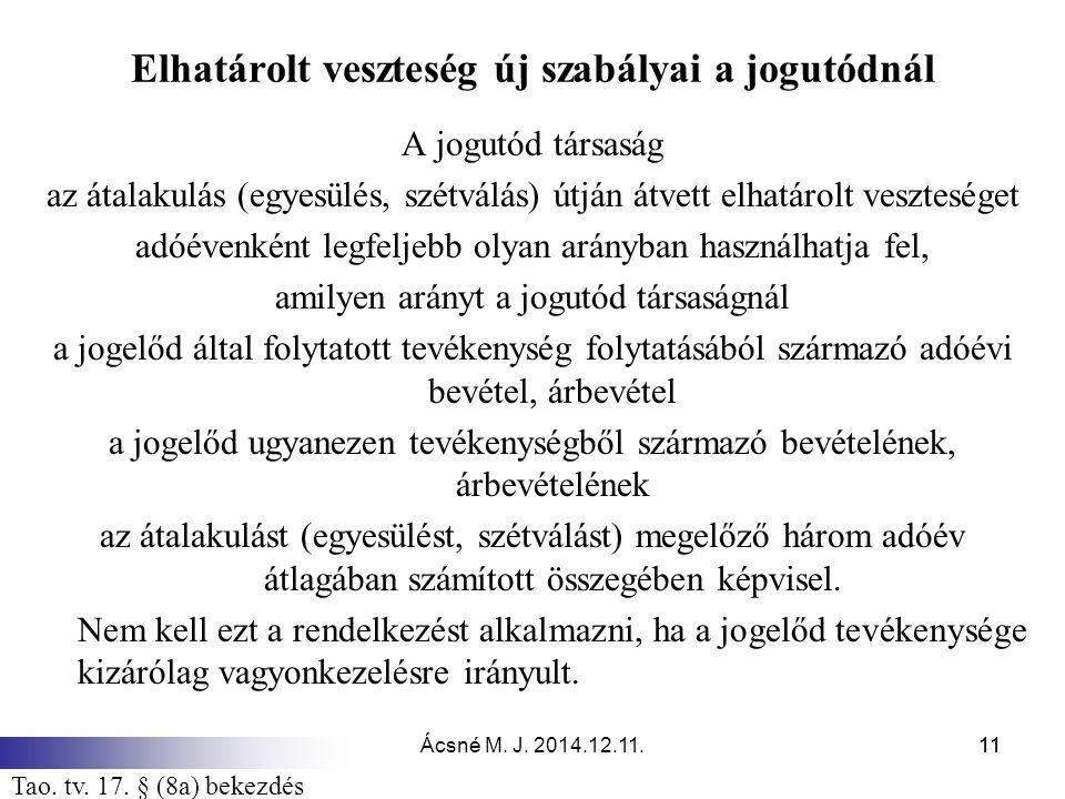 Ácsné M. J. 2014.12.11.11 Elhatárolt veszteség új szabályai a jogutódnál A jogutód társaság az átalakulás (egyesülés, szétválás) útján átvett elhatáro