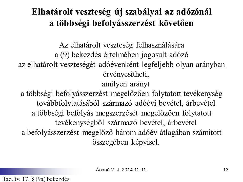 Ácsné M. J. 2014.12.11.13 Elhatárolt veszteség új szabályai az adózónál a többségi befolyásszerzést követően Az elhatárolt veszteség felhasználására a