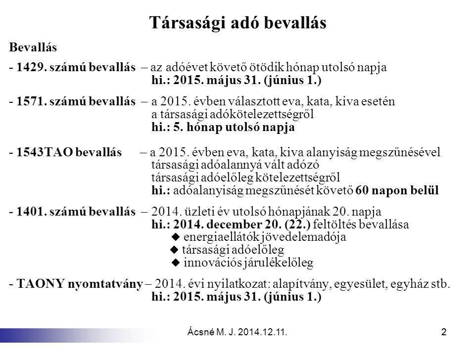 Ácsné M.J. 2014.12.11.22 Társasági adó bevallás Bevallás - 1429.