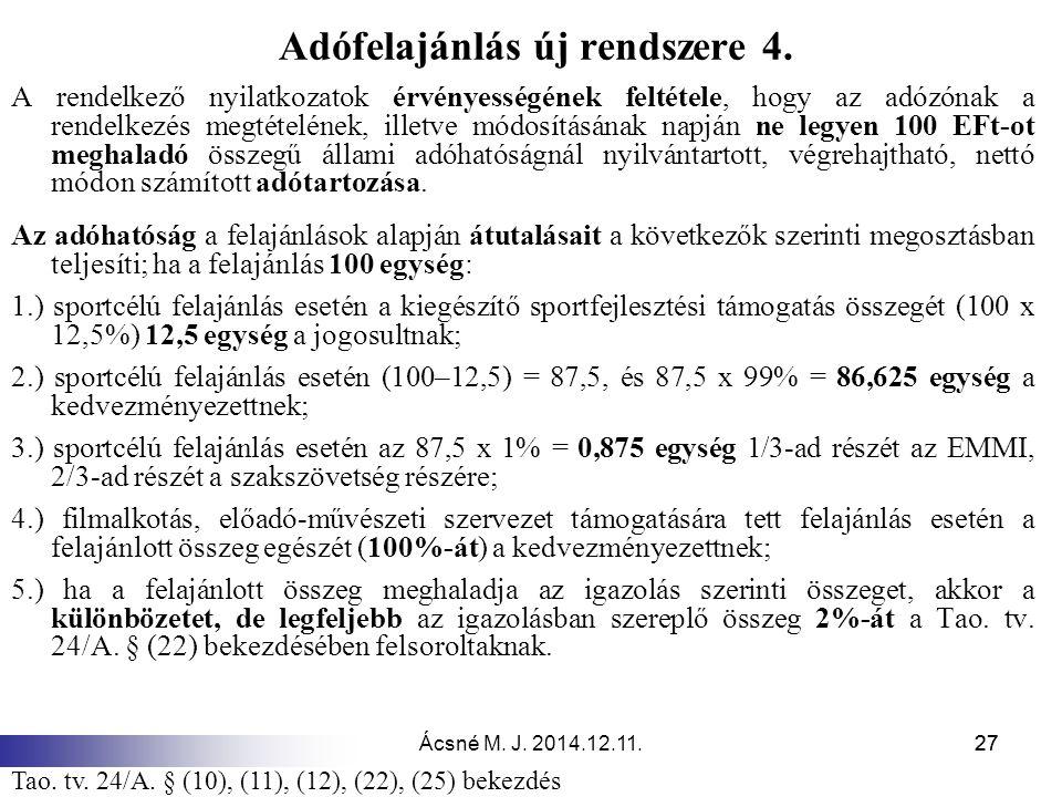 Ácsné M. J. 2014.12.11.27 Adófelajánlás új rendszere 4. A rendelkező nyilatkozatok érvényességének feltétele, hogy az adózónak a rendelkezés megtételé