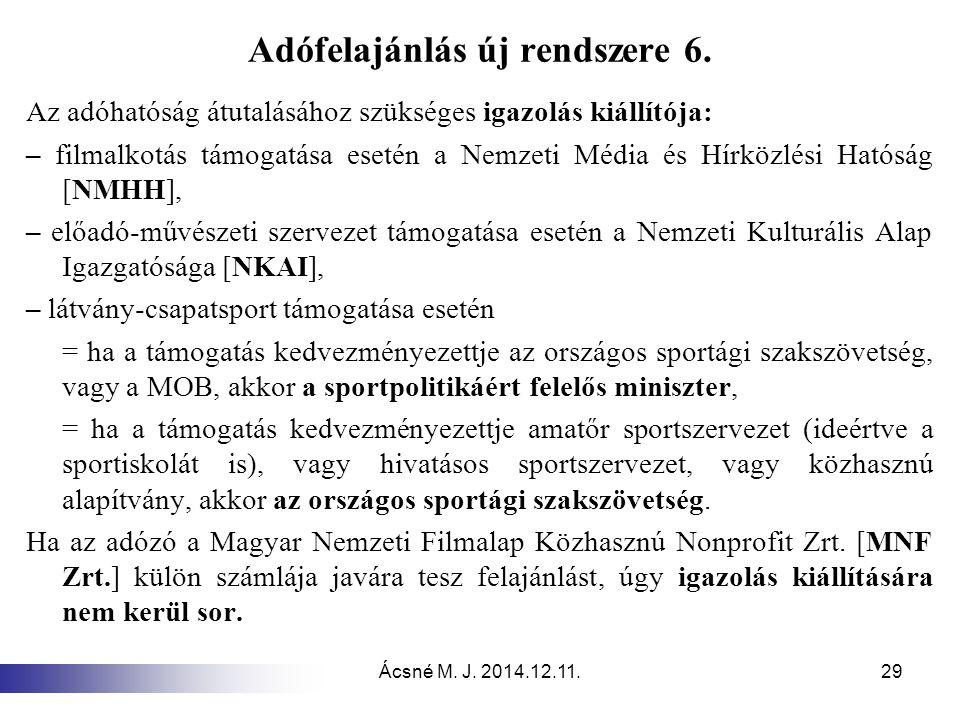 Ácsné M. J. 2014.12.11.29 Adófelajánlás új rendszere 6. Az adóhatóság átutalásához szükséges igazolás kiállítója: – filmalkotás támogatása esetén a Ne