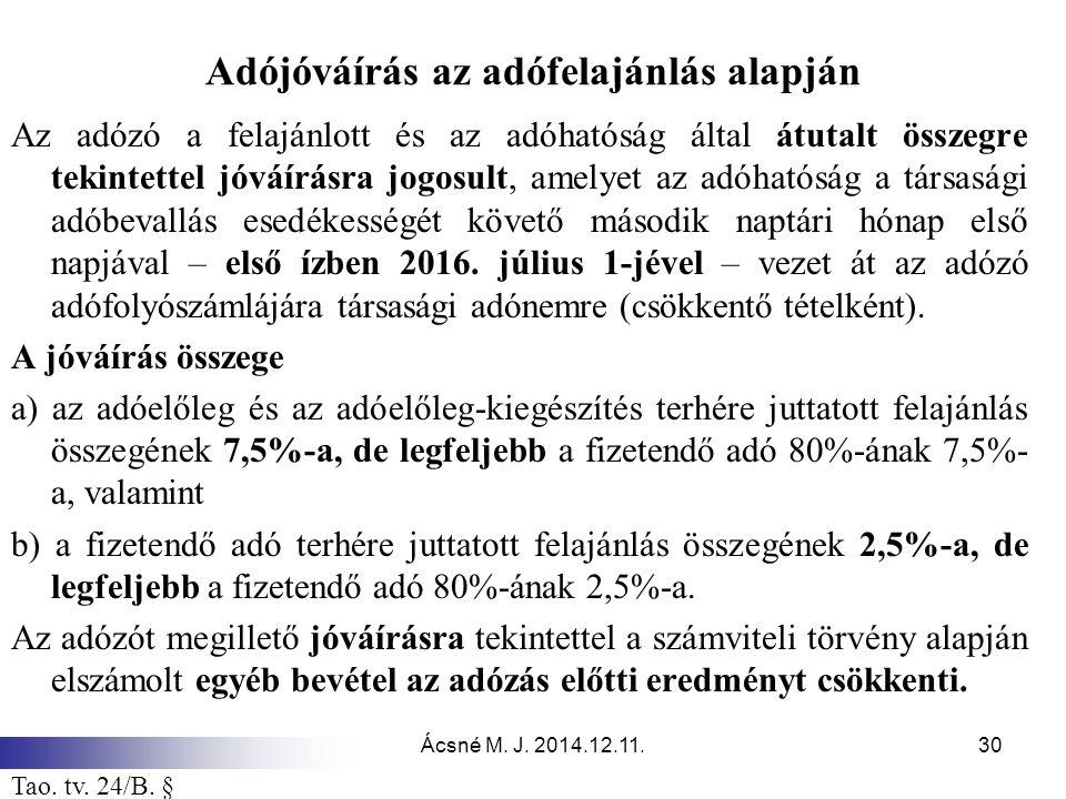 Ácsné M. J. 2014.12.11.30 Adójóváírás az adófelajánlás alapján Az adózó a felajánlott és az adóhatóság által átutalt összegre tekintettel jóváírásra j