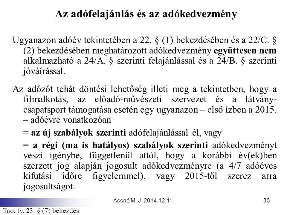 Ácsné M. J. 2014.12.11.33 Az adófelajánlás és az adókedvezmény Ugyanazon adóév tekintetében a 22. § (1) bekezdésében és a 22/C. § (2) bekezdésében meg