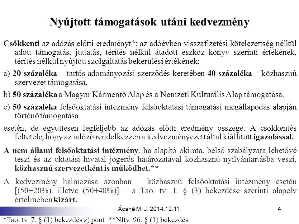 Ácsné M. J. 2014.12.11.44 Nyújtott támogatások utáni kedvezmény Csökkenti az adózás előtti eredményt*: az adóévben visszafizetési kötelezettség nélkül