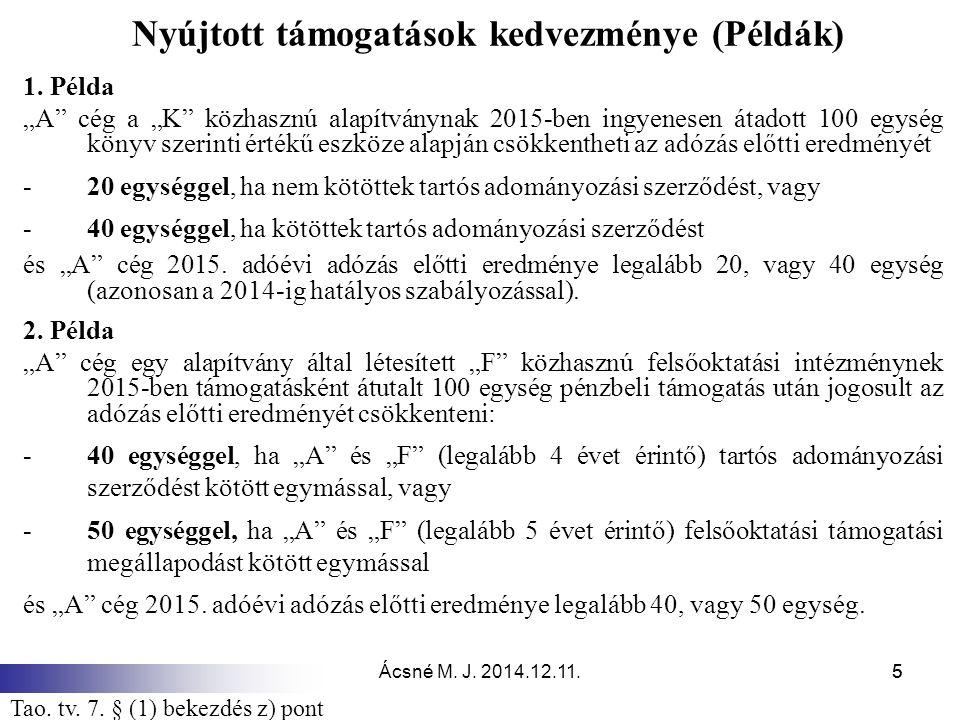 Ácsné M.J. 2014.12.11.55 Nyújtott támogatások kedvezménye (Példák) 1.