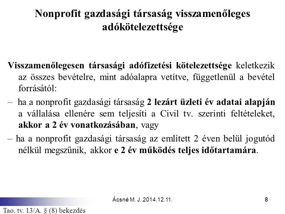 Ácsné M. J. 2014.12.11.8.8 Nonprofit gazdasági társaság visszamenőleges adókötelezettsége Visszamenőlegesen társasági adófizetési kötelezettsége kelet
