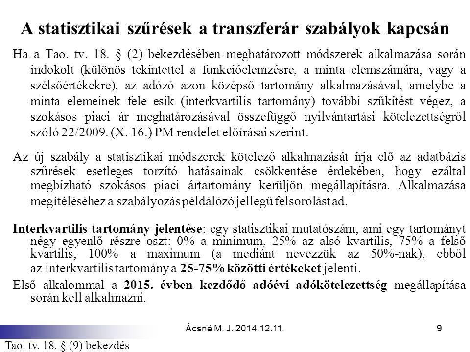 Ácsné M. J. 2014.12.11.9.9 A statisztikai szűrések a transzferár szabályok kapcsán Ha a Tao. tv. 18. § (2) bekezdésében meghatározott módszerek alkalm